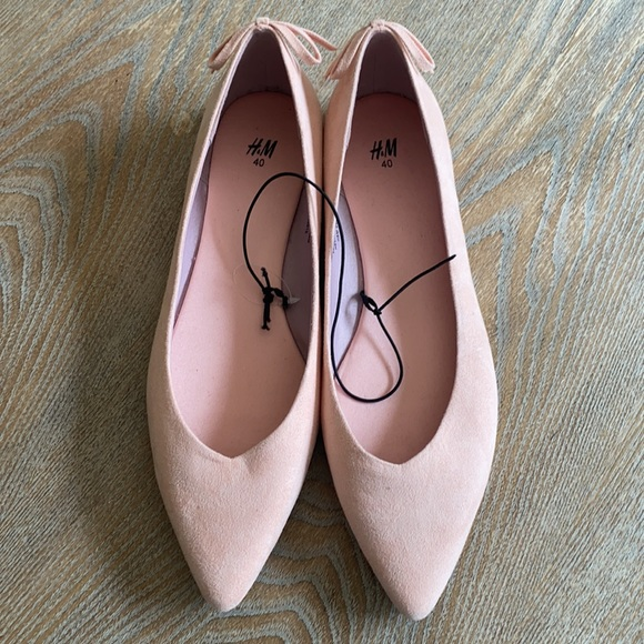 New H&M women's bow pink point toed flats sz 8.5
